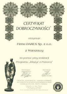 certyfikat Fundacji Dzieciom Zdążyć z Pomocą