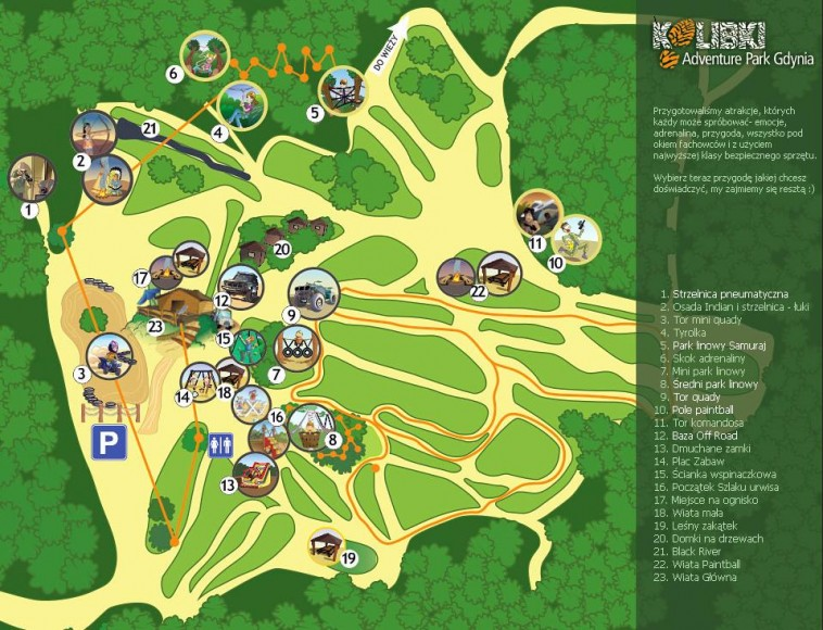 Kolibki Adventure Park - mapa