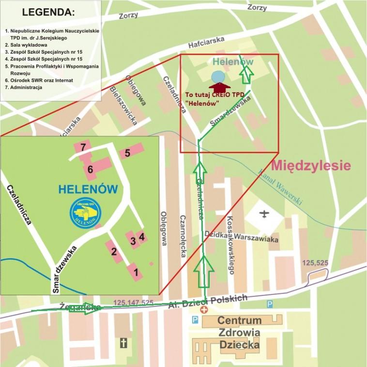 Mapa dojazdu - Helenów