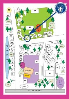 mapka z oznaczenie miejsca Fundacji w parku