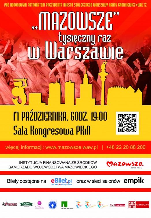 Plakat zapowiadający koncert Mazowsza