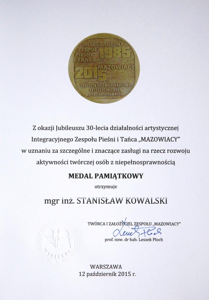dyplom do medalu