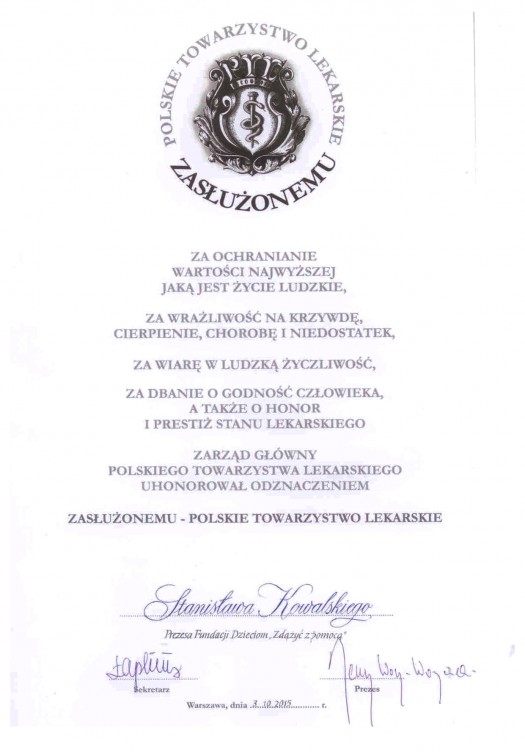 """Certyfikat """"Zasłużonemu – Polskie Towarzystwo Lekarskie"""""""