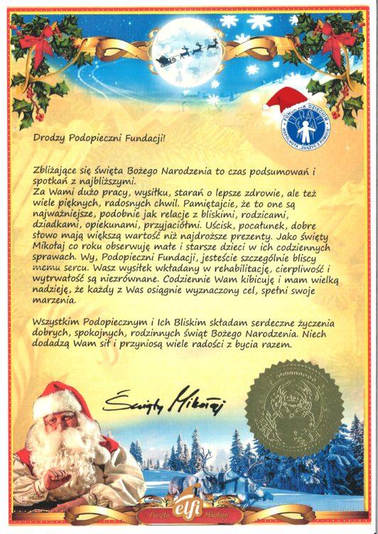 List od Świętego Mikołaja do Podopiecznych
