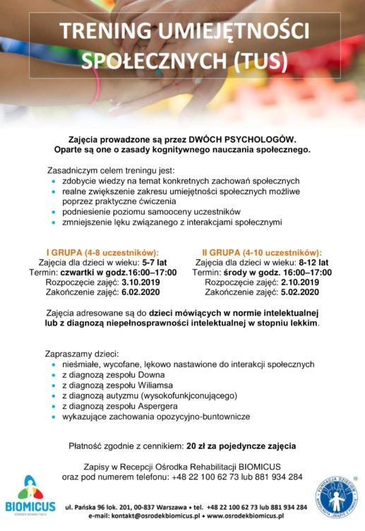 Zapraszamy do Ośrodka Rehabilitacji BIOMICUS przy ulicy Pańskiej 96, lok. 201 w Warszawie na zajęcia grupowe – Trening Umiejętność Społecznych (TUS).